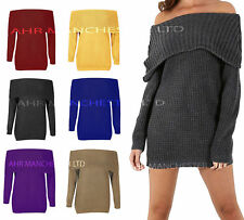 Ladies Off Shoulder Long Sleeve Cable Knitted Bardot Pullover Women Jumper Dress