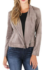 NEW KUT from the Kloth Contemporary Faux Suede Mai Biker Jacket Buff Size S-XL