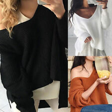 Casual Womens V-Neck Knit Long Cardigan Sweater Basic Coat Pullover Tops Outwear