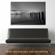 Wall Art Canvas Print Lake Sunset Landscape Black&White-Unframed