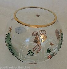 Estate Hand Painted Embossed Gold Gilded Christmas Tree Presents Glass Bowl Dish
