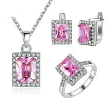 925 Silver Pink Sapphire Ring Necklace Pendant Earrings Wedding Lady Jewelry Set