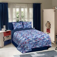 Veratex Boys Soccer Locker Blue Sports Bedding Comforter Set - TWIN and FULL