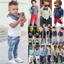 Baby Kids Boys Shirts Tops + Denim Pants Wedding Formal Dress Outfit Set Age 1-8