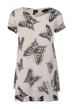 STELLA MORGAN BUTTERFLY PRINT SUMMER INSPIRED DUAL LAYERED TUNIC TOP WHITE