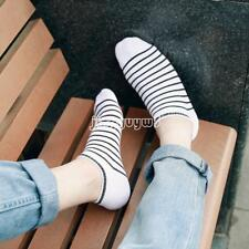 Men/Women Cotton Ankle Invisible Loafer Boat Liner Striped Low Cut Non-slip Sock
