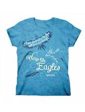 """LAST ONE!!!!! """"Wings Like Eagles"""" Missy Fitted Short Sleeve Blue T-Shirt"""