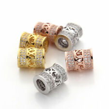 2pcs/lot 18K GP Crystal Tube Charm Spacer Beads Jewelry Making Connectors Bails