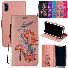 Bling Pattern Leather Flip Cover Card Slots Wallet Case Strap Stand For iPhone 8