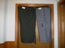 Gap Wide Leg Linen Capri Pants size 18 - Dark Forest & 12- Light Chambray NWT