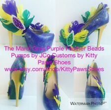 "JCo.Customs By Kitty Paws Shoes The Mardi Gras Purple Feather Beads 6"" Pumps"