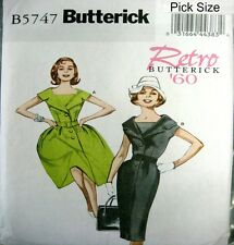 Butterick Retro Sewing Pattern 5747 Ladies 16-24 Retro 60s Full or Wiggle Dress