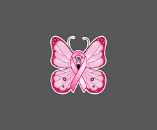 Set of 2 - Pink Breast Cancer Awareness Butterfly /w Ribbon Decal Stickers Pink