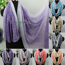 Women Vintage Scarf Paisley Floral Print Color Stitching Soft Infinity Scarf New