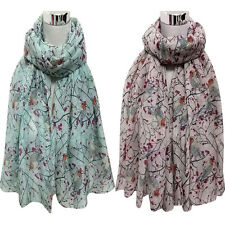 Fashion Womens Voile Long Cute Bird Branch Print Scarf Wraps Shawl Soft Scarves