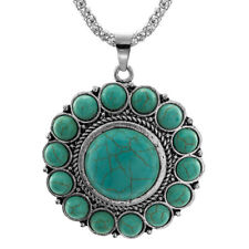 Natural Stone Pendant Chain Vintage Silver Plated Necklace Women Fashion Jewelry