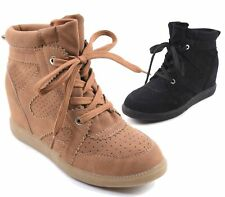 Womens Ladies Wedge Platform Hi Top Ankle Trainers Lace Up Sneakers Boots Size