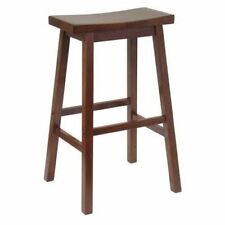 Kitchen Counter Wood Stool Height Bar Chair Saddle Seat Step Retro Furniture