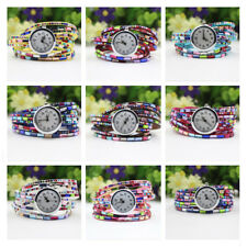 Bangle 1 Pcs Crystal Quartz Wrist Watch Women's Beaded Bracelet Wrist Watch