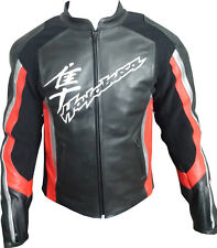 Men's Replica Hayabusa Leather Motorbike Jacket with CE Armor Protection