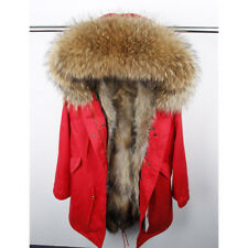 Natural Raccoon Fur Collar Thick Warm Parkas Hooded Real Fur Liner Long Coat