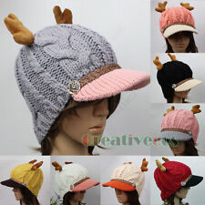 New Fashion Chic Brim Visor Beanie Buttons Strap Antlers Cap Wool Knit Warm Hat