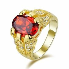 Luxury Red Garnet 18K Gold Filled Man's Solitaire Ring Size 8-11Engagement