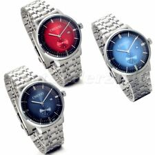 Fashion Mens Stainless Steel Round Dial Calendar Date Quartz Analog Wrist Watch