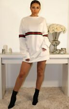 Ladies Womens Red And Green Striped Oversized Jumper Baggy Sweats Dress Top UK