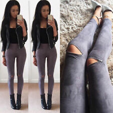 Women Faux Leather Skinny Pants Sexy Zipped Legging Stretch Slim Trousers Luxury