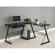 Home Corner Computer Furniture 3 Pc Office Desk Sliding Keyboard Tray Black Glas