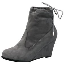 Anya Womens Mid High Wedges Heels Tie Top Pull On Ankle Boots Ladies Shoes Size