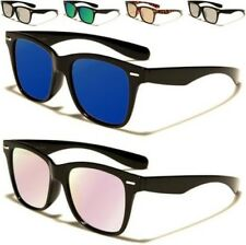 NEW BLACK SUNGLASSES MENS LADIES WOMENS DESIGNER FLAT LENS MIRROR RETRO LARGE