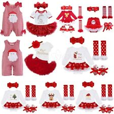 Girls My 1st Christmas Santa Costume Baby Toddler Romper Dress Outfit Xmas Party