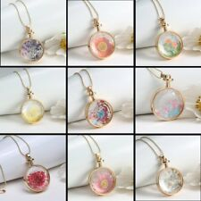 Real Dried Flower Gold Round Glass Drop Sweater Chain Pendant Necklace Jewelry