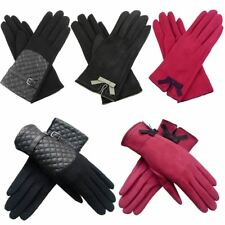 New Faux Suede Small Bow Wool Leather Look Panel Womens Gloves