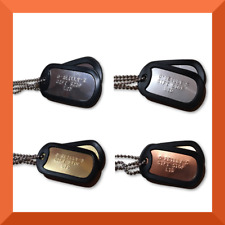 PERSONALISED MILITARY DOG TAGS - STAINLESS STEEL, BRASS, COPPER ARMY ID NECKLACE