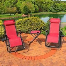 Recliner Lounge Chairs Set Garden Outdoor Side Table Pillows Reclining Tray Yard