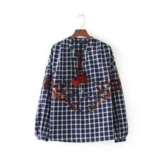 New Womens Checks Dyed Long Puffy Sleeve Floral Embroidered Tassels Blouse Tops