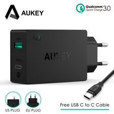 AUKEY 2-in-1 USB Charger Type C Quick Phone Charger USB Universal Wall Charger