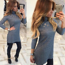 Sexy Womens High-Necked Bodycon Long Sleeve New Fashion Slim Long T-shirt