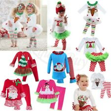 Baby Girls Christmas Reindeer Outfits Long Sleeve SANTA Tutu Dress Kids Clothes