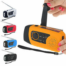 Mini 2000mAh Emergency Solar Crank Radio LED Flashlight MP3 Player Phone Charger