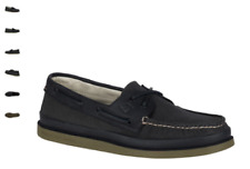 NEW Mens SPERRY TOP-SIDER Black Canvas Leather A/O AUTHENTIC ORIGINAL Boat Shoes