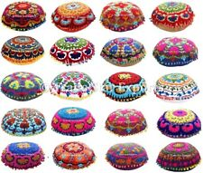 """Round Suzani Pillow Case 16"""" Embroidered Indian Decorative Throw Cushion Cover"""