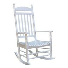 Solid Wood Rocker Chair Porch Rocking Patio Outdoor White Classic Style Furnitur