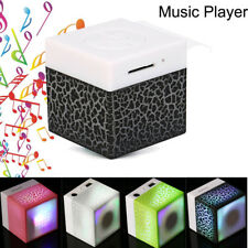 Mini Portable LED Wireless Stereo Bass Speaker MP3 Music Player TF Card AUX USB