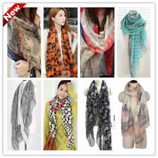 Winter fall Womens girl flowers voile Soft Fashion Long Shawl Scarf Wrap Stole