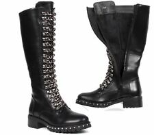 WOMENS LADIES BLACK STUDDED PLATFORM BLOCK HEEL KNEE HIGH BOOTS SHOES SIZE