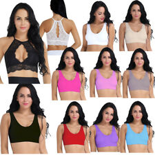 Women Lace Elastic Breathable Seamless Sports Padded Bra Vest Tops Yoga Workout